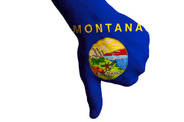 montana us state flag thumbs down gesture for failure made with