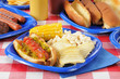 Hot dog with relish on a summer cookout