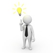 Businessman with bright idea on white