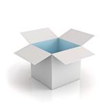 Opened cardboard box with cyan light on white