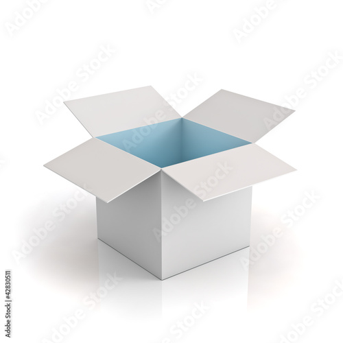 Opened cardboard box with cyan light on white