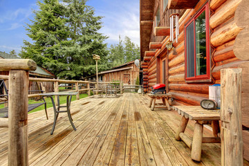Wood horse farm cabin rustic deck.