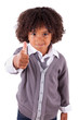 Portrait of a cute african little boy making thumbs up