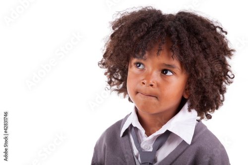 Portrait of a thoughtful african american little boy