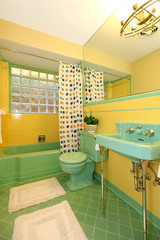 Lime green and yellow bathroom old antique design.