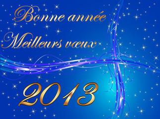 Bonne année 2013 fond bleu