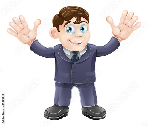 Cute businessman in suit waving