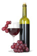 Red wine bottle and young grape on white