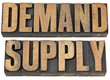 demand and supply words in wood type
