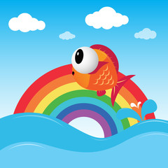 Fish jumping out of the water with rainbow