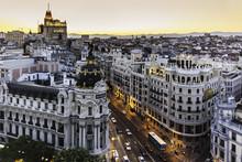 """Постер, картина, фотообои """"Panoramic view of Gran Via, Madrid, Spain."""""""