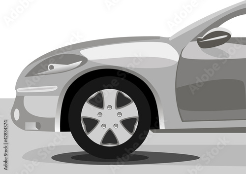 silhouette of car sedan on white background