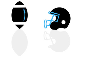 A silhouette of a ball and helmet for football in the vector