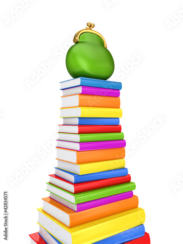 Green purse on a colorful books.