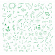 Set of green vector hand drawn arrows.