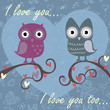 Valentine love card with owls and hearts
