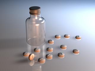 Tabletten Flasche Glas