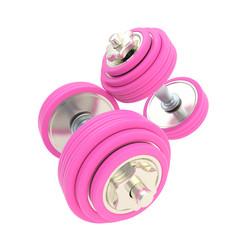Women strength: pink pair of dumbbells