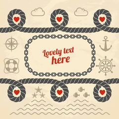 Valentine in marine style. Vector illustration.
