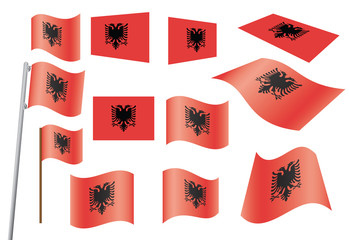 set of flags of Albania vector illustration