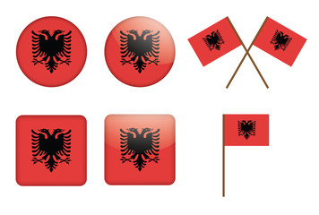 set of badges with flag of Albania vector illustration