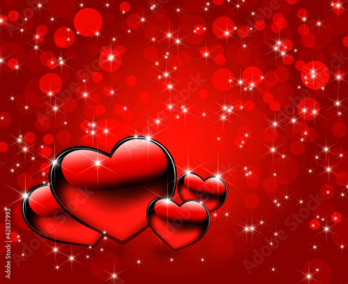 Beautiful red hearts abstract background