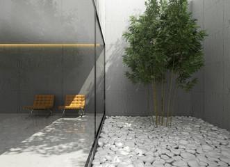 Outdoor  minimal design home, lounge area atrium