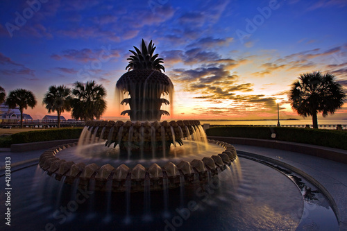 Fotobehang Fontaine Pineapple Fountain Charleston, South Carolina