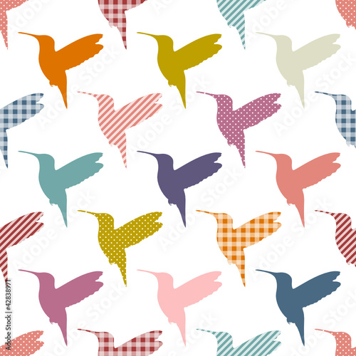 Retro Color Hummingbirds Pattern Seamless Pattern © Jan Engel