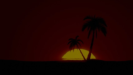 Time-lapse tropical sunrise with palm trees and clear sky