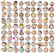 People Expression Doodle Cartoon Icons