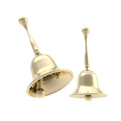 Handbell golden, pair of two shiny and glossy