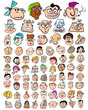 Funny Characters Doodle Cartoons. Cute People Expressions Icons