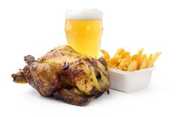 pollo arrosto con patate e birra