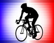 bicyclist silhouette on the tricolor background - vector