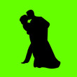 Wedding couple, groom and bride in green background silhouette
