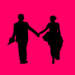 Wedding couple, groom and bride in pink background silhouette