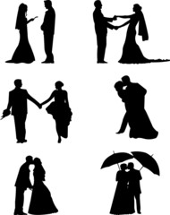 Wedding couples, groom and a bride in a different poses