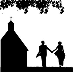 Outdoor weddings with wedding couple and church  silhouette