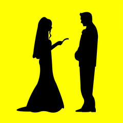 Wedding couple, groom and bride in yellow background silhouette