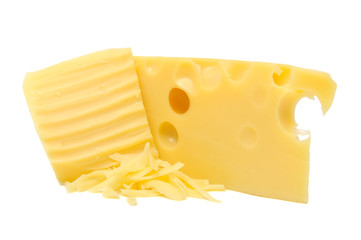 Grated Cheese and Chunk of Cheese Isolated on White Background
