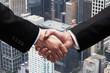 handshake and city