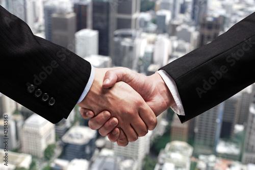 handshake in city