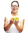 woman holding salad