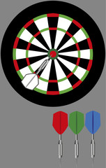 Dart board and darts colored on a gray background