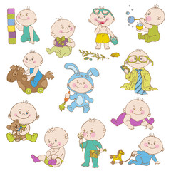 Baby Boy Doodle Set - for design, scrapbook, shower or arrival c