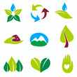 nature set of symbols, green and bio concepts