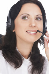 portrait of brunette call-center customer's support operator wit
