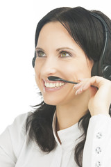 closeup portrait of smiling brunette call-center customer's supp