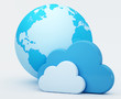 Cloud computing, clouds in front of globe